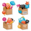 Set of colorful boxes - Stock vektor
