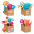 Set of colorful boxes - Stock Vector
