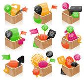 Ensemble de boîtes colorées — Vecteur