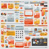 Olbrzymi zbiór elementów strony internetowej — Wektor stockowy