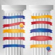 Decorative columns with different ribbons — Stock Vector
