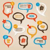 Handgetekende spraak bubbels illustratie — Stockvector