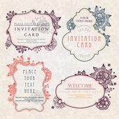 Inbjudningskort med blommiga mönster — Stockvektor