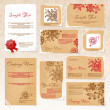 Business style templates with flowers. - Stok Vektör