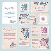 Business style templates with flowers. — Stok Vektör
