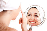 Facial skincare anti-ageing exfoliation — Stock Photo