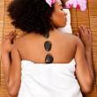 Stock Photo: Beauty health day spa - hot lastone therapy