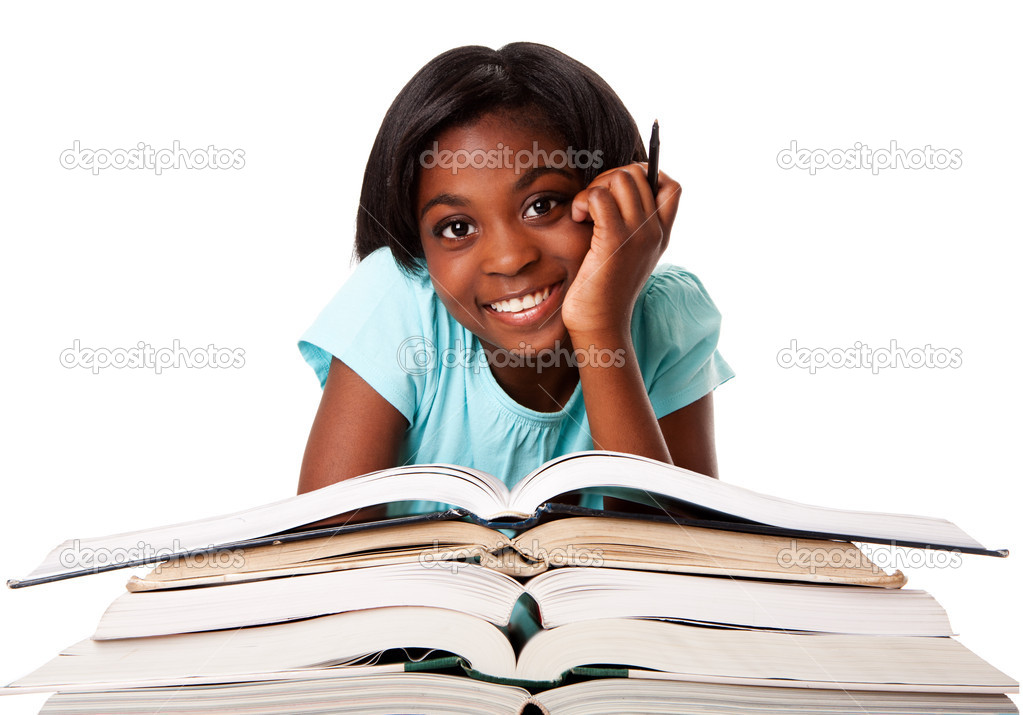 Beautiful happy smiling student with pen and a pile of open books doing homework, isolated. — ストック写真 #5898378