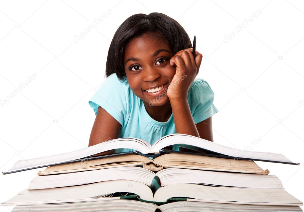 Beautiful happy smiling student with pen and a pile of open books doing homework, isolated. — Lizenzfreies Foto #5898378