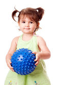 Happy toddler girl with ball — Stock Photo
