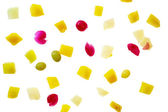 Pieces of fruits on white. — Stock Photo