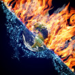 Globe in Fire and Water — Stock Photo