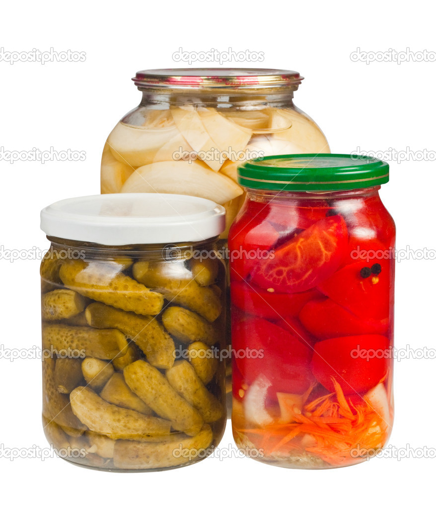 Canned vegetables in glass jars  Stock Photo #6658181
