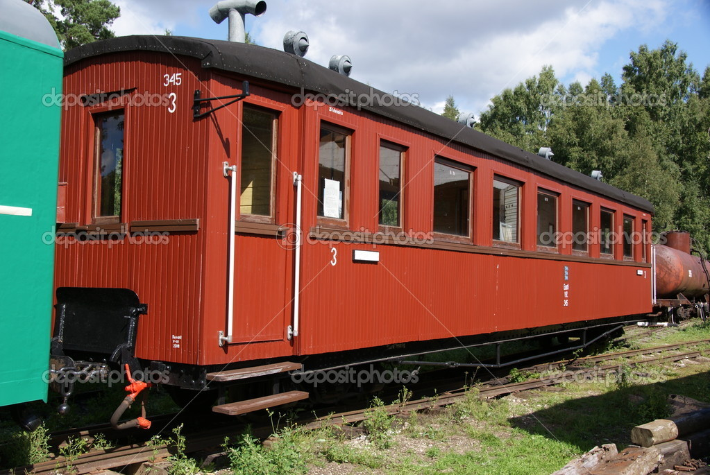 The old carriage from narrow-gauge road — Stock Photo #6409283
