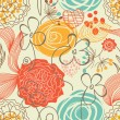 Stock Vector: Retro floral seamless pattern