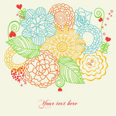 Flowers and hearts love card — Stock Vector