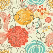Retro floral patrón sin costuras — Vector de stock