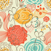 レトロなシームレスな花柄 — ストックベクタ