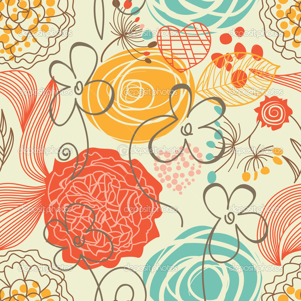 Retro floral seamless pattern stock illustration