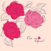 Sfondo carino rose — Vettoriale Stock