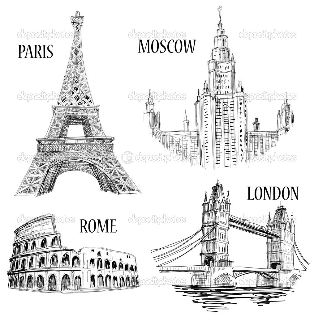 European cities symbols sketch: Paris (Eiffel Tower), London (London Bridge), Rome (Colosseum), Moscow (Lomonosov University)  — Grafika wektorowa #5405289