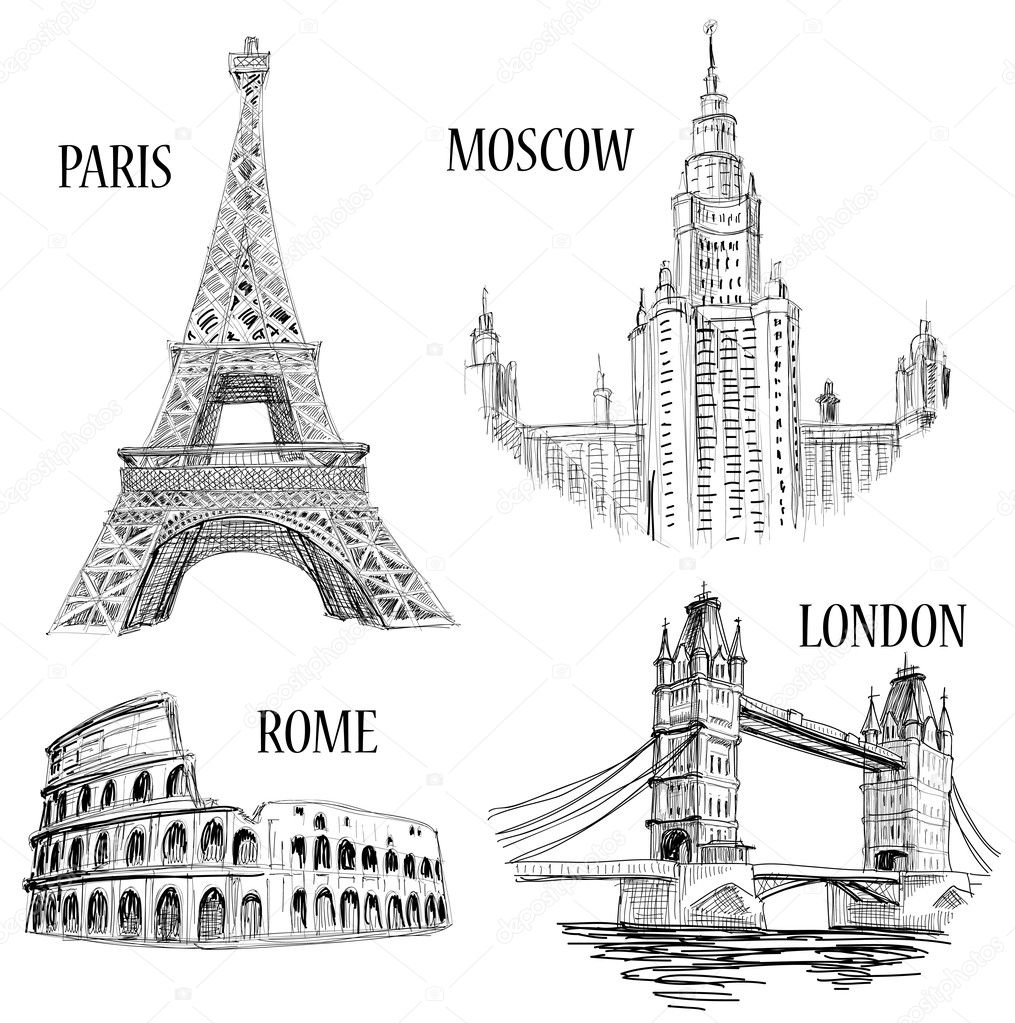 European cities symbols sketch: Paris (Eiffel Tower), London (London Bridge), Rome (Colosseum), Moscow (Lomonosov University)  — Векторная иллюстрация #5405289