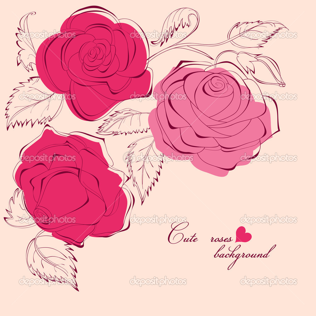 Cute roses background  — Stock Vector #5405377