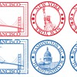 图库矢量图片: USA famous cities stamps