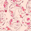 Love roses seamless pattern - Stock Vector