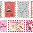 Love and wedding stamps collection - Stok Vektr