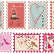 Love and wedding stamps collection — Vettoriali Stock