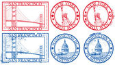 USA famous cities stamps — 图库矢量图片