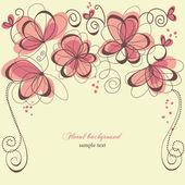 Romantic invitation floral panel — Stock Vector