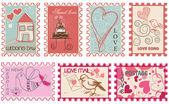 Láska a svatba sbírka známek — Stock vektor