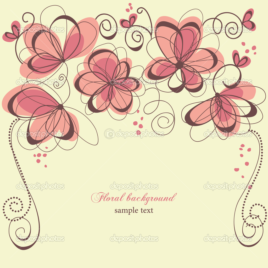 Romantic invitation floral panel  Stock Vector #5433291