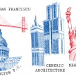 Royalty-Free Stock Vector Image: USA famous cities architecture and landmarks