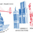 USA famous cities architecture and landmarks — Imagen vectorial