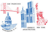 USA famous cities architecture and landmarks — Stock Vector