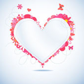 Floral white paper heart — Stock Vector