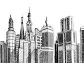 Croquis d'une architecture générique urbaine — Vecteur