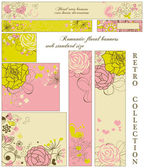 Retro floral banners; standard web size — Stock Vector