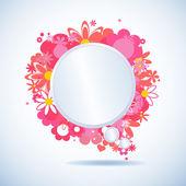 White paper floral speech bubble — Stock Vector