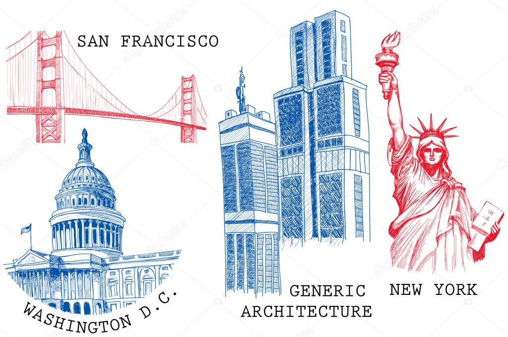 USA famous cities architecture and landmarks sketches: New York (Statue of Liberty), San Francisco (Golden Gate), Washington D.C. (United States Capitol)  — Stock Vector #5455909