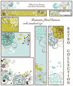 Retro floral banners; standard web size — Stockvector
