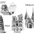 Famous landmarks - Imagen vectorial