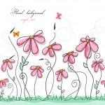 Pink flowers garden with butterflies — Stock Vector