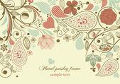 Marco flores, adorno paisley — Vector de stock