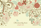 çerçeve çiçek desenli motifi — Stok Vektör