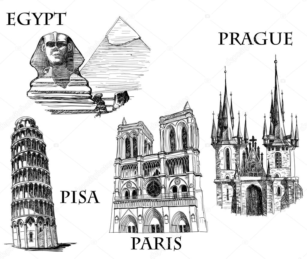 Famous buildings, famous cities sketch (Egypt, Pyramids and The Sphinx; Tower of Pisa; Notre Dame de Paris, St. Tyn Cathedral, Prague)  — Stock Vector #5588629