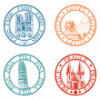 Detailed travel stamps collection: Pisa, Paris, Prague, Egypt - Stok Vektr